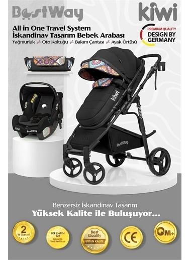 Kiwi BestWay All in One Travel Sistem İskandinav Tasarım Bebek Arabası, Oto Koltuğu, Bakım Çantası Siyah